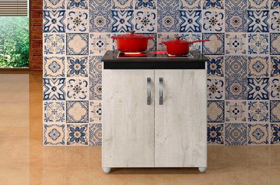 Balcão Cooktop 4 Bocas Fox Armário Para Cozinha Casa Textura