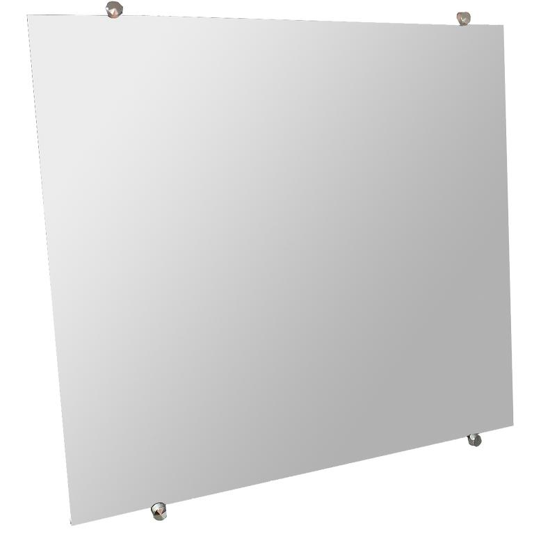 Espelho Banheiro Casa 3mm Com Botão Francês Quadrado 60cm