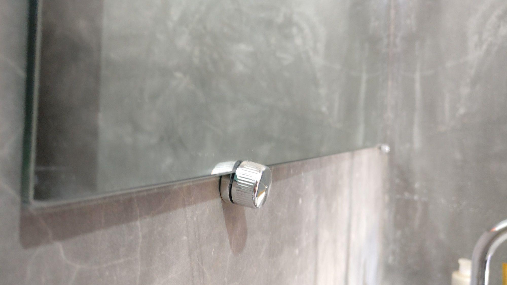 Espelho Banheiro Casa 3mm Com Botão Francês Quadrado 80cm