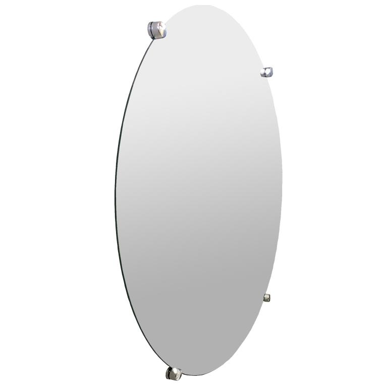 Espelho de Banheiro Casa 3mm Com Botão Francês Redondo 70cm