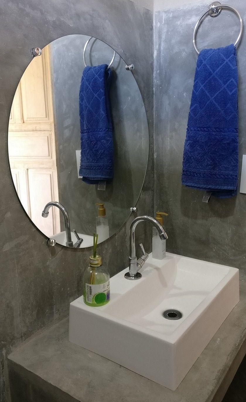 Espelho de Banheiro Casa 3mm Com Botão Francês Redondo 80cm