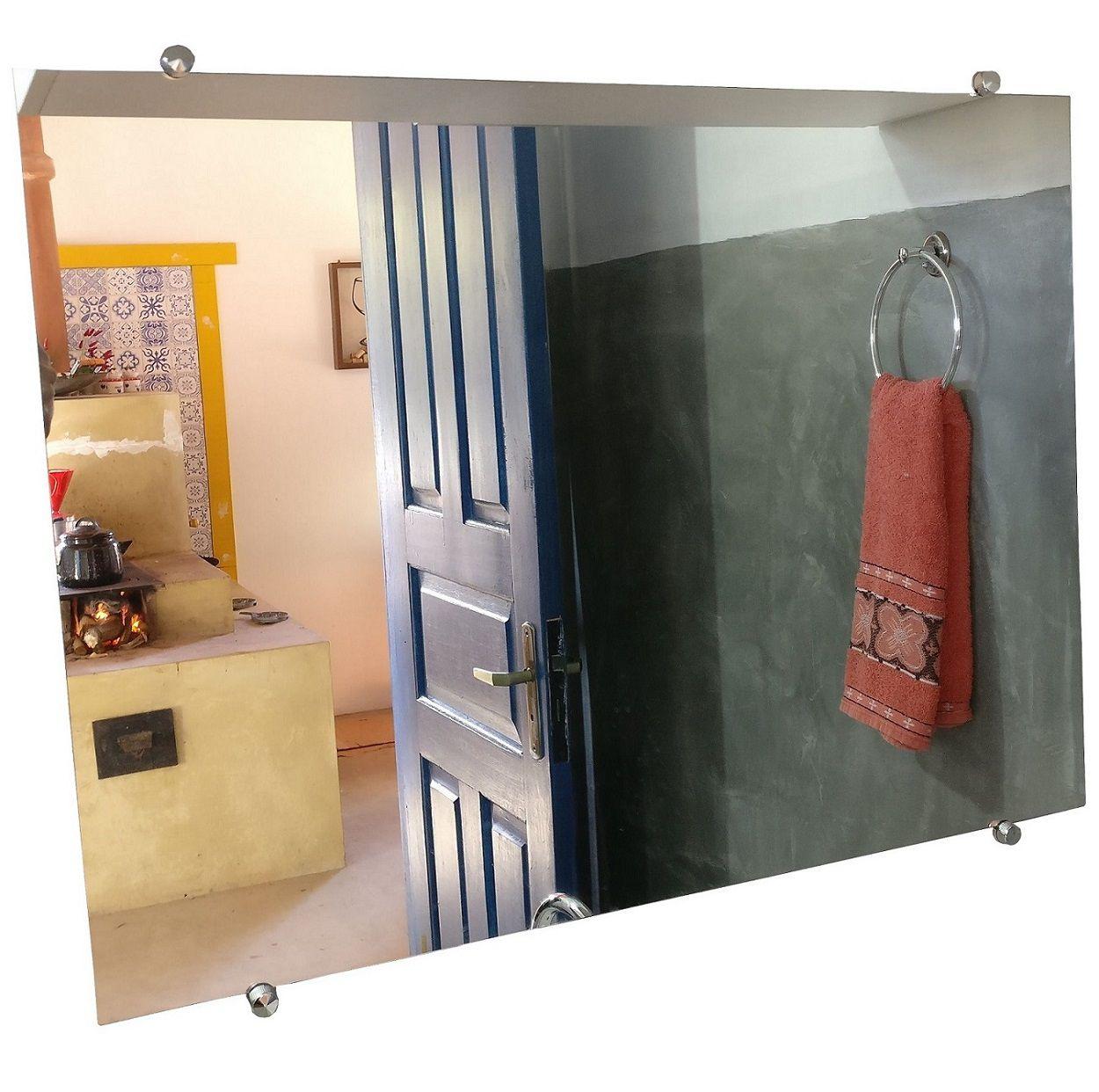 Espelho Para Banheiro Casa 3mm Com Botão Francês 70 X 50 Cm