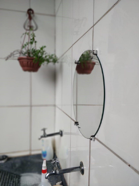 Espelho Para Banheiro Casa 3mm Com Botão Francês Redondo 40cm