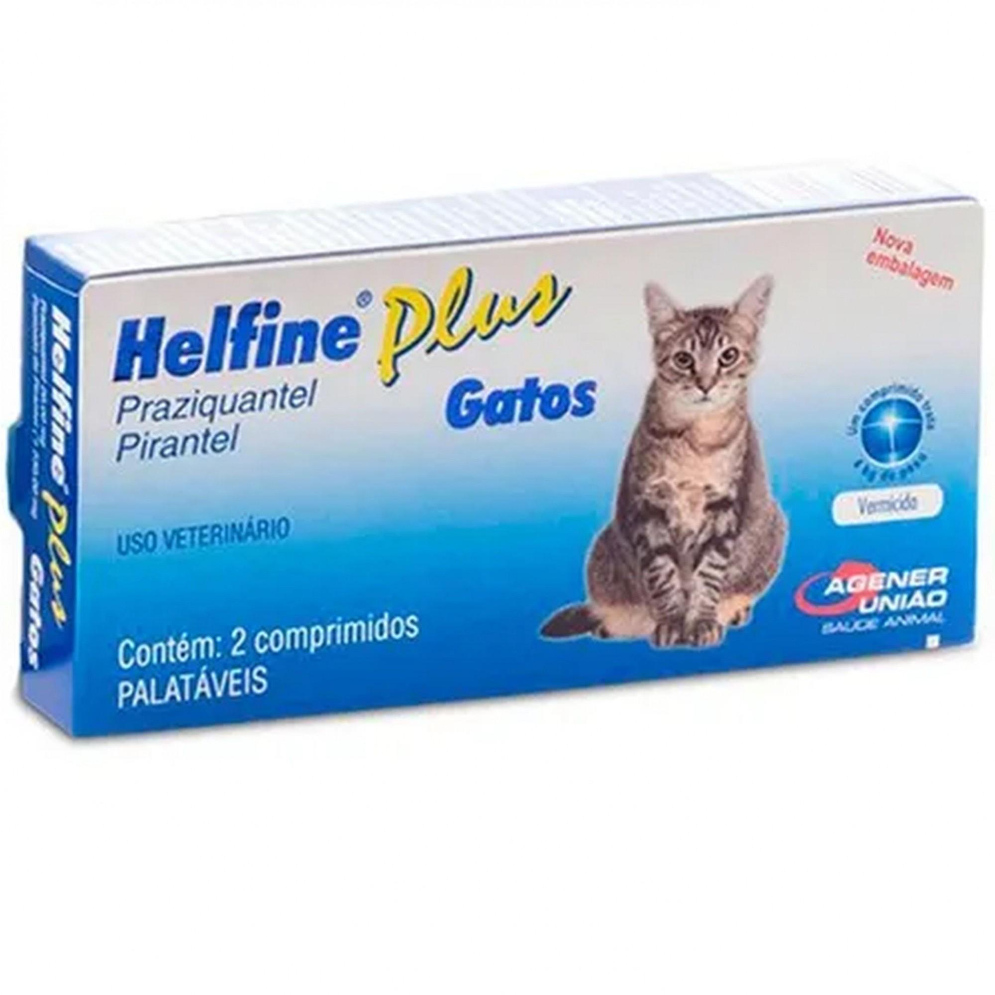 Helfine Plus Gatos 2 Compr Palatáveis Vermicida Agener Pet