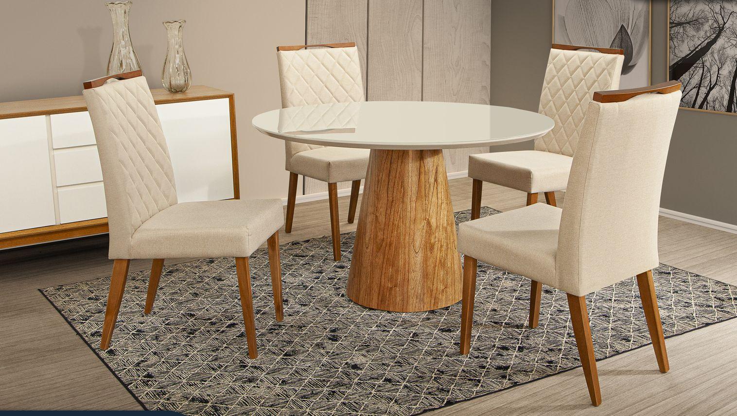 Kit 2 Cadeira de Jantar Estofada para sua Mesa Roma Mozzoni