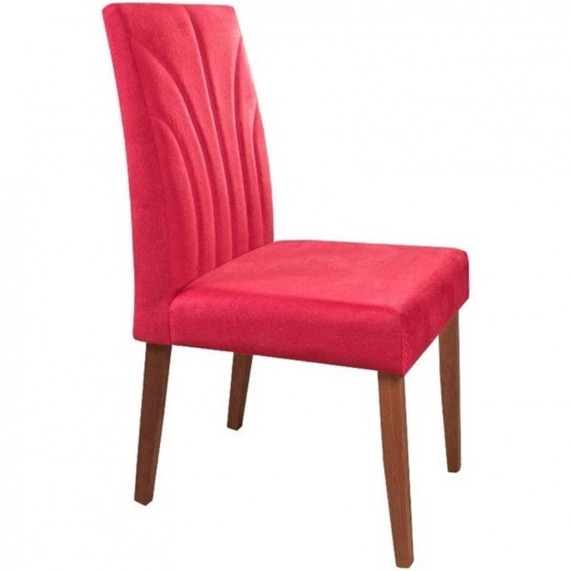 Kit 2 Cadeira Estofada pra Mesa Jantar Pé Madeira Listrada