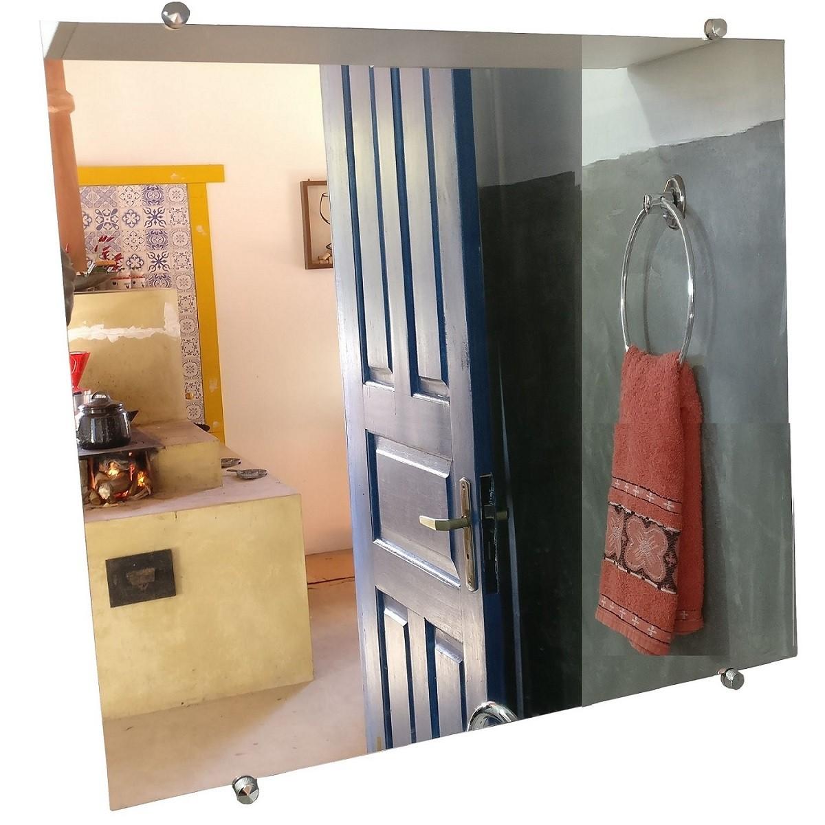 Kit 2 Espelho Banheiro Casa 3mm Botão Francês Quadrado 30cm