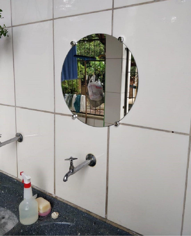 Kit 2 Espelho de Banheiro 3mm c/ Botão Francês Redondo 30cm