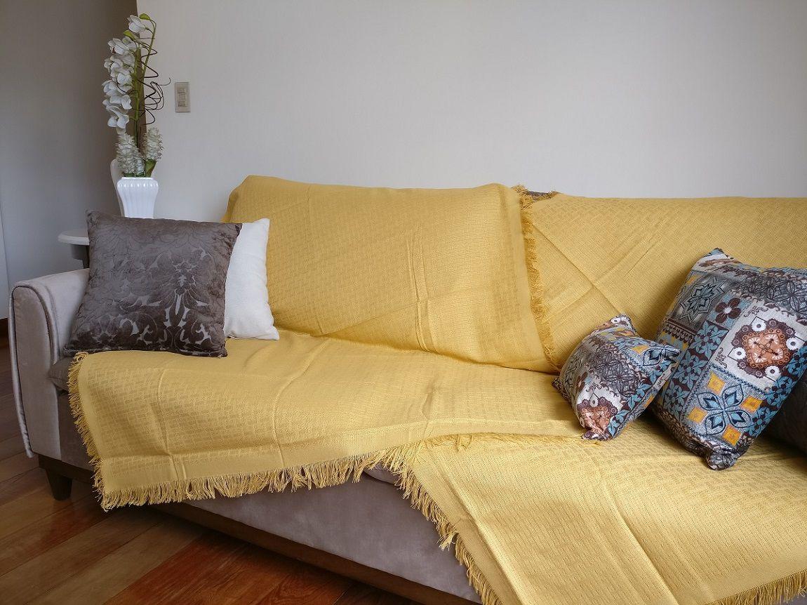 Manta Sofá 100% Algodão Decorar Sala Casa 1,2x1,5m Unicolor