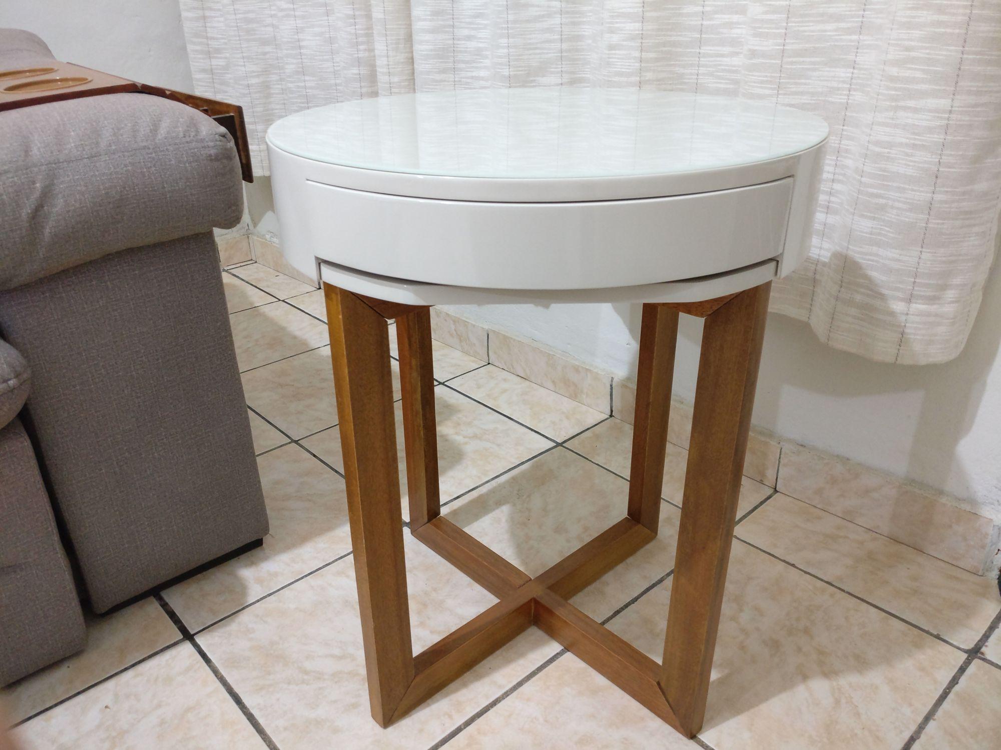 Mesa Decorativa Vidro Pé de Madeira Sala Casa 3005 Off White