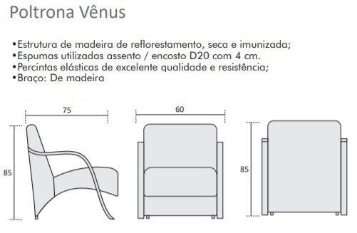 Poltrona Decorativa Vênus Braço MDF Para Sala Casa Quarto