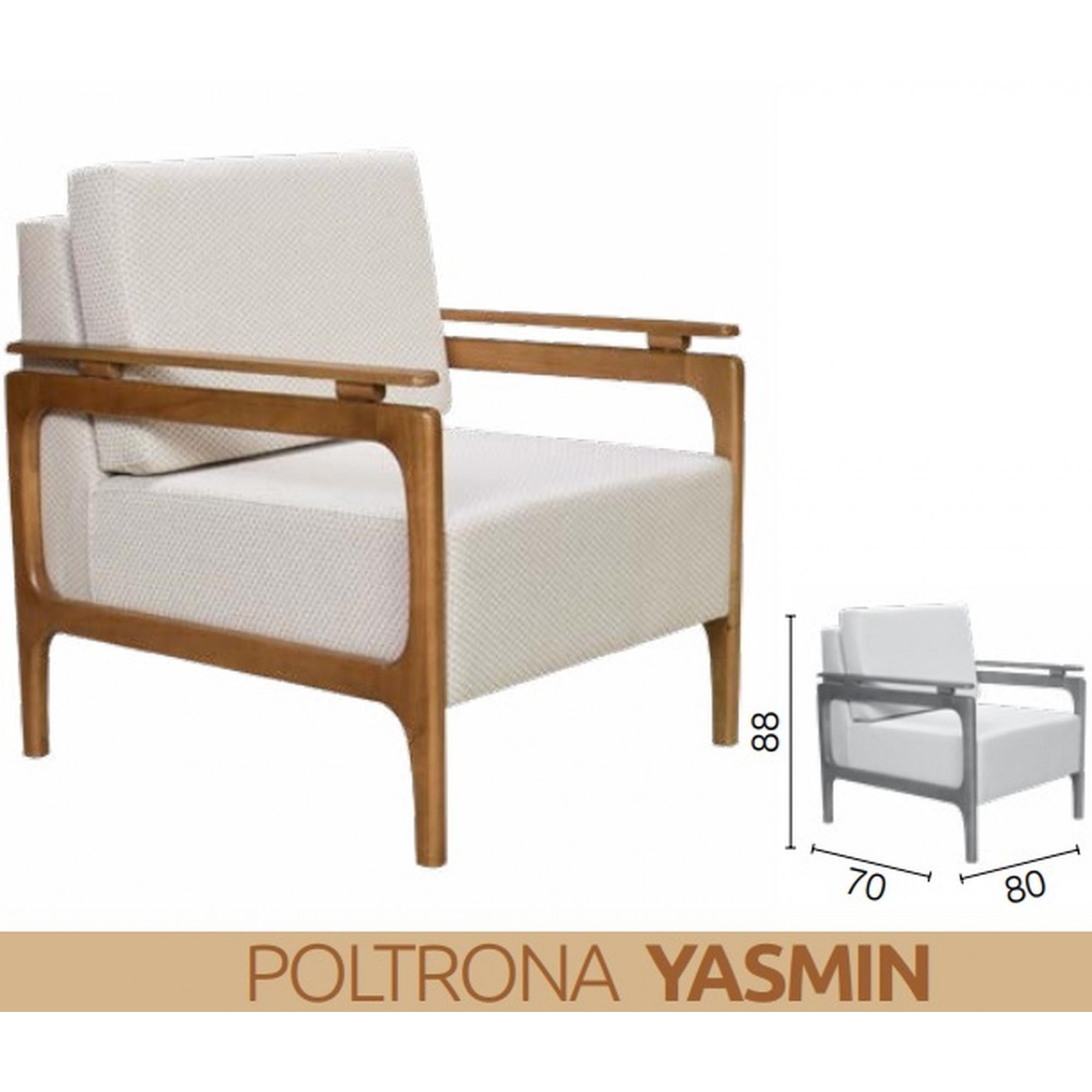 Poltrona Decorativa Yasmin pra Sala Casa Pé Madeira Mobília