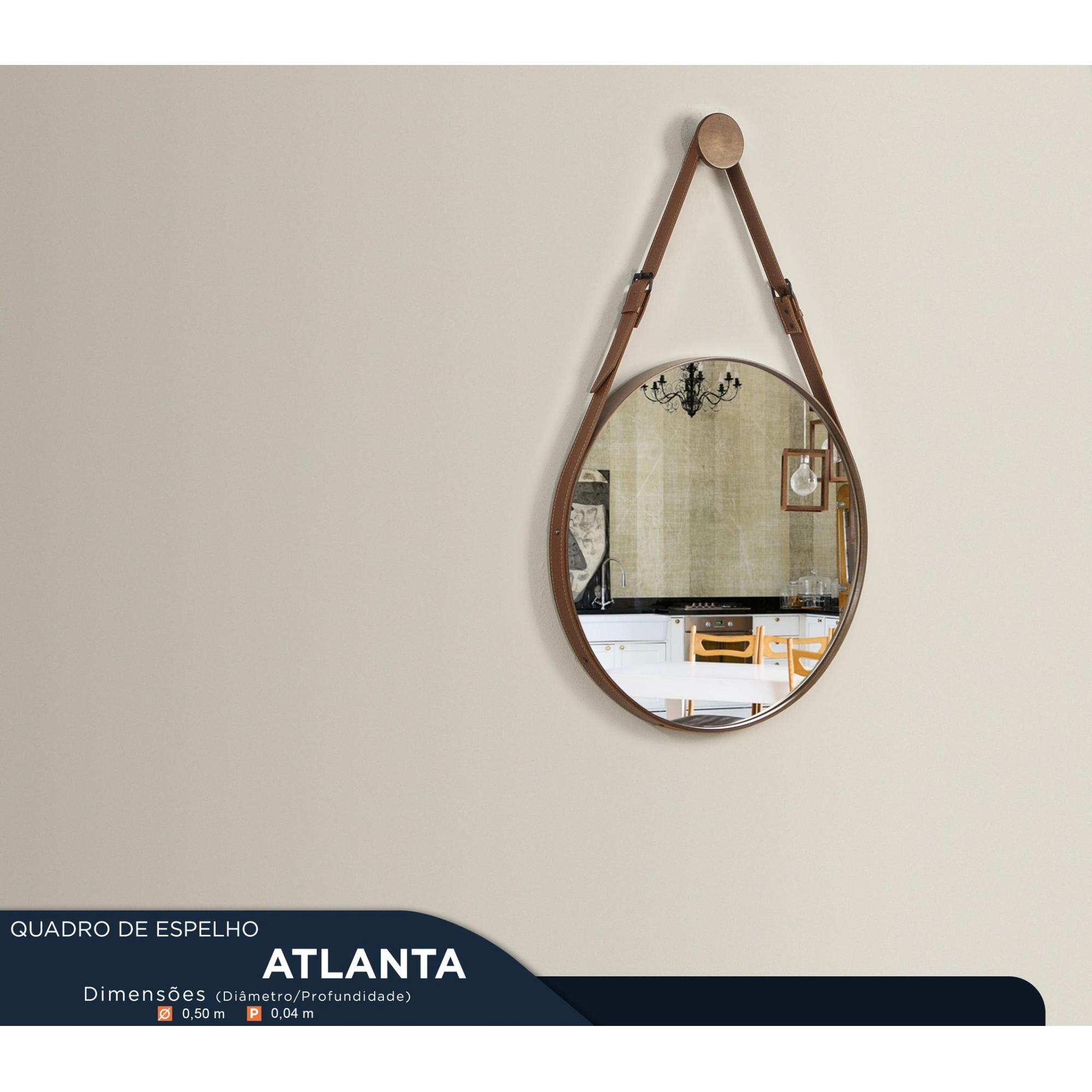 Quadro de Espelho Adnet H4cm Modelo Atlanta 50 cm Mozzoni