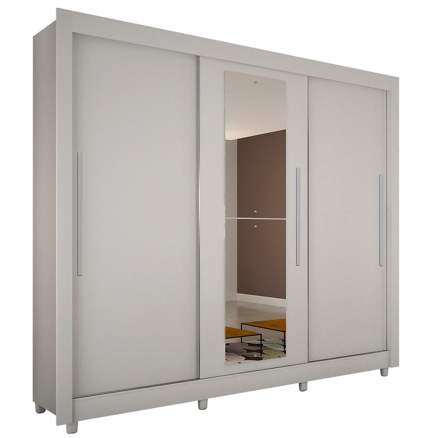 Roupeiro Tokio 3 Portas com Espelho  Salleto Dormitório Novo