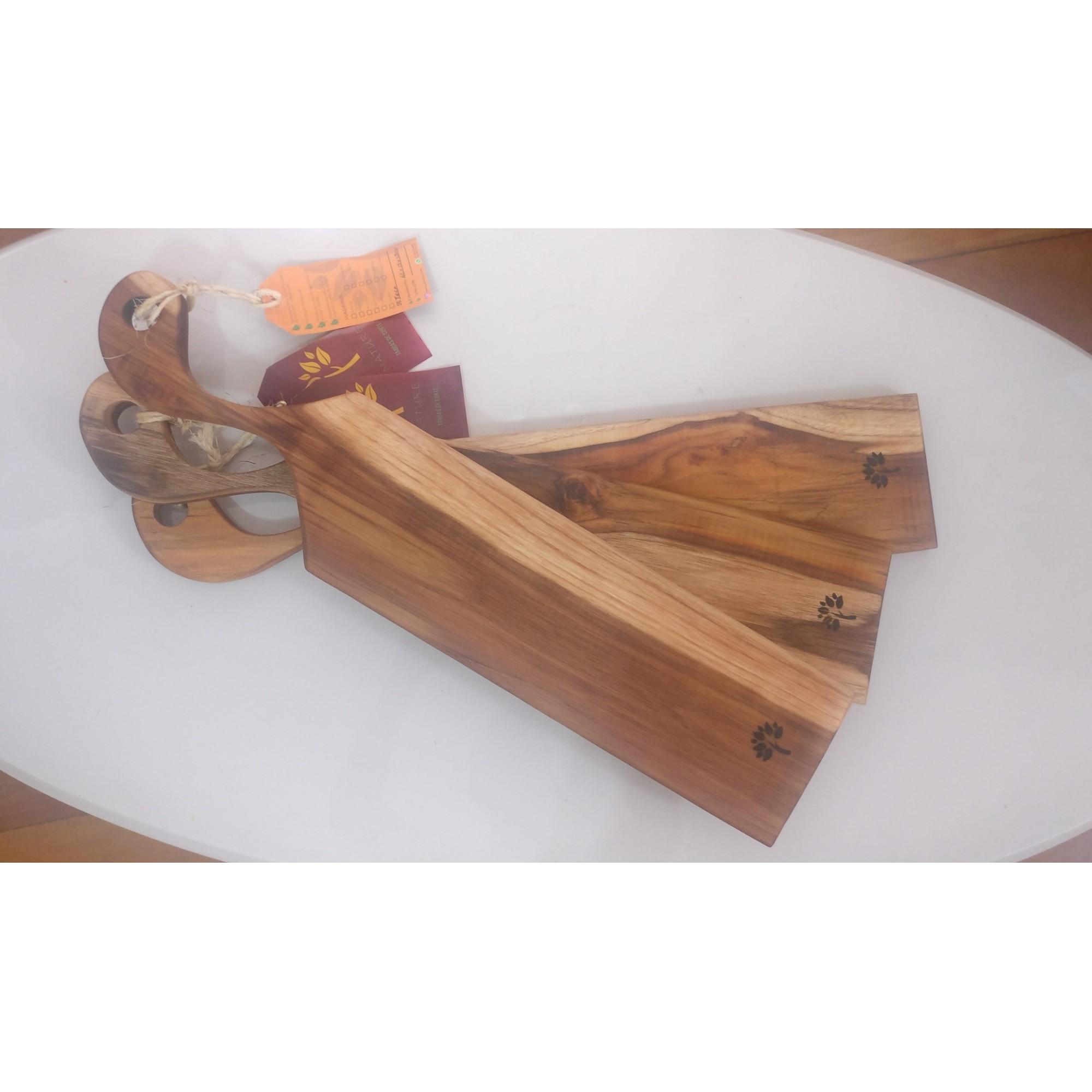 Tábua Gourmet de Queijos e Frios Madeira Teca 59,5 x 12 cm
