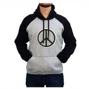 Moletom Masculino Bordado Simbolo Paz Universal