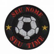 Patch Bordado - Bola Futebol Personalizado Campo Seu Nome