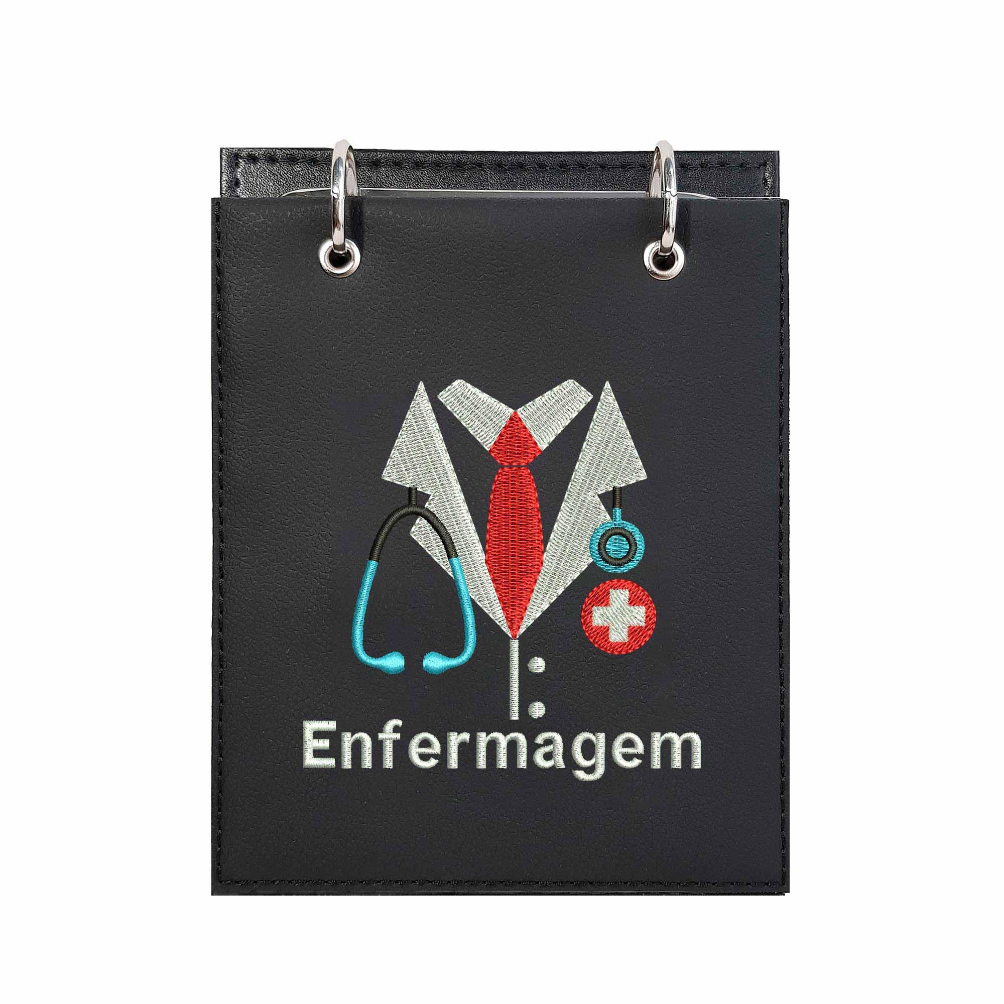 Bloco Bordado de Mesa Notas Design Logo Enfermagem  - Talysmã Bordados