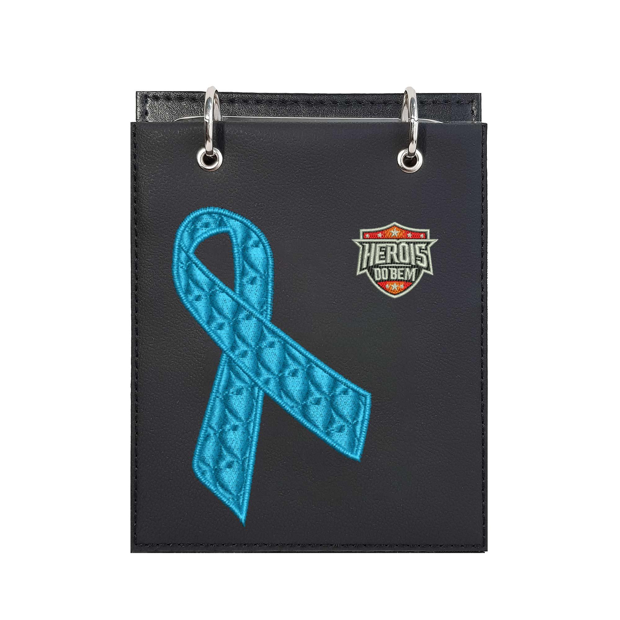 Bloco de Notas de Mesa Bordado Laço Novembro Azul Câncer Próstata Heróis do Bem  - Talysmã Bordados