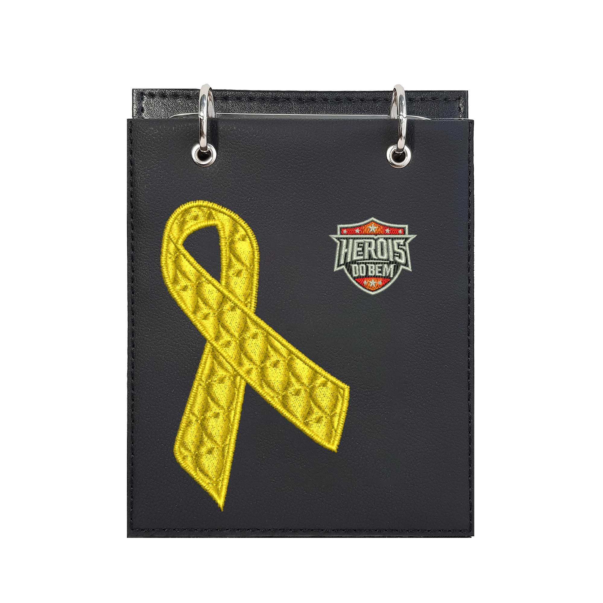 Bloco de Notas de Mesa Bordado Laço Setembro Amarelo Câncer Infantil e Suicídio Heróis do Bem  - Talysmã Bordados