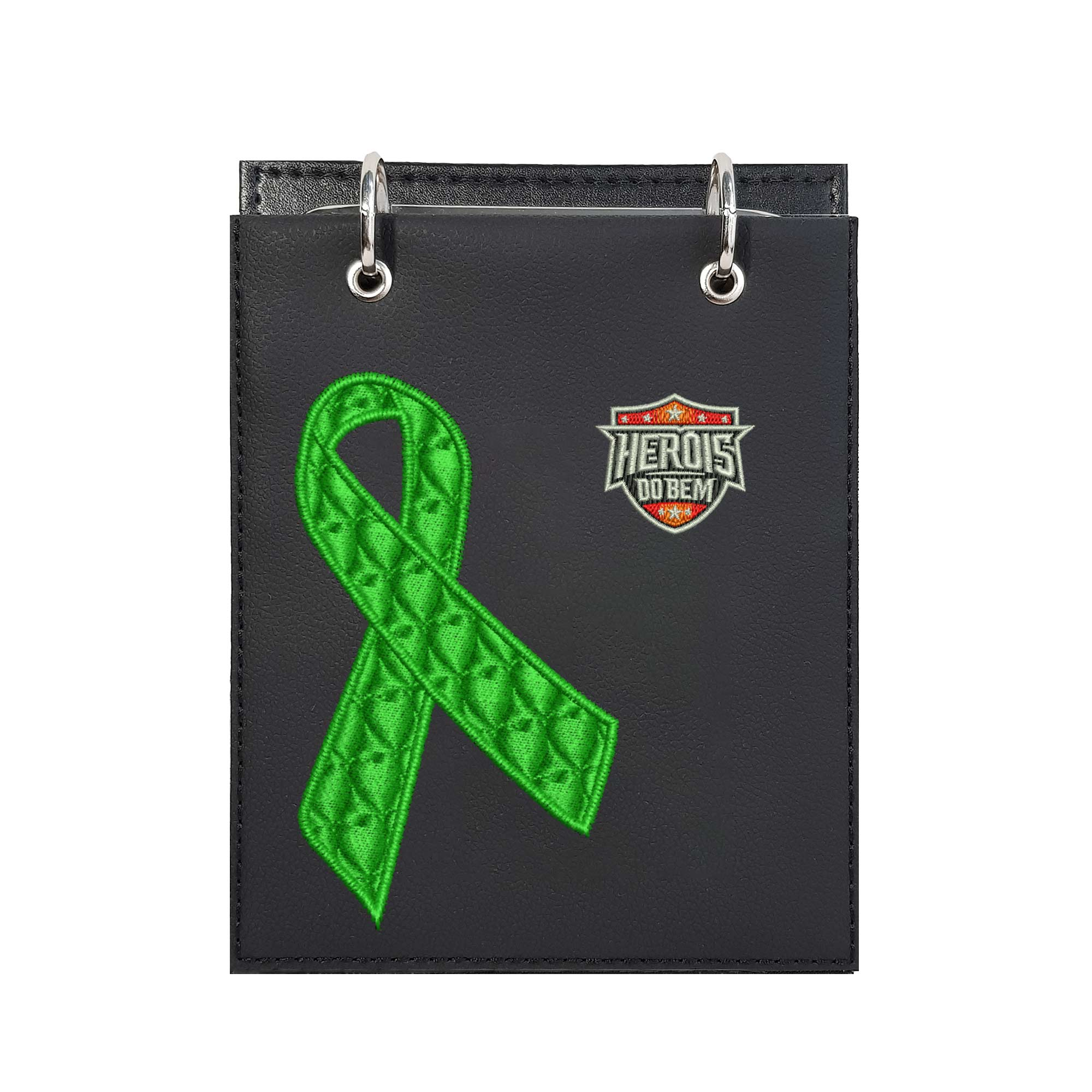 Bloco de Notas de Mesa Bordado Laço Setembro Verde Doação Orgãos Heróis do Bem  - Talysmã Bordados