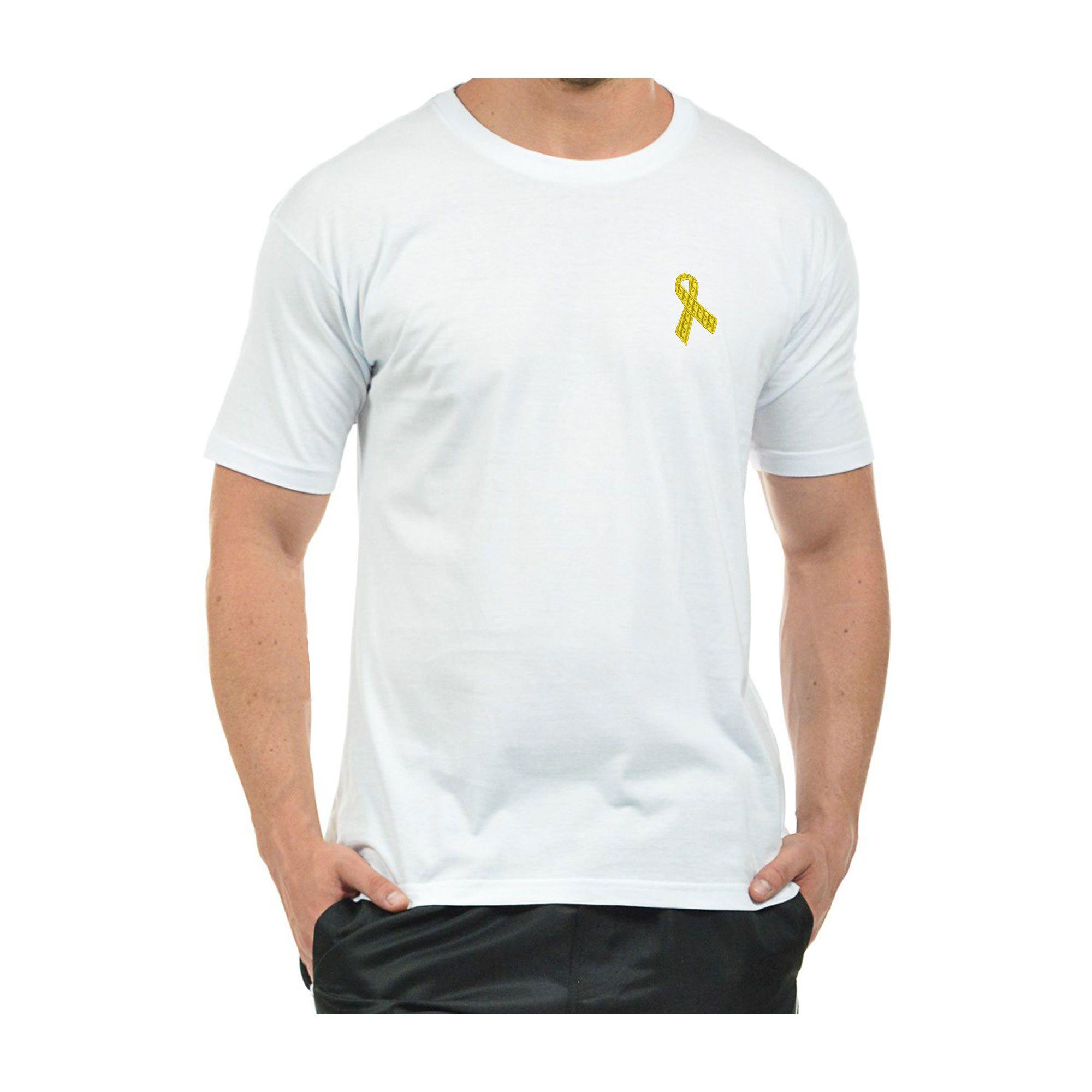 Camiseta Bordada Masculina Laço Setembro Amarelo Câncer Infantil e Suicídio Heróis do Bem  - Talysmã Bordados