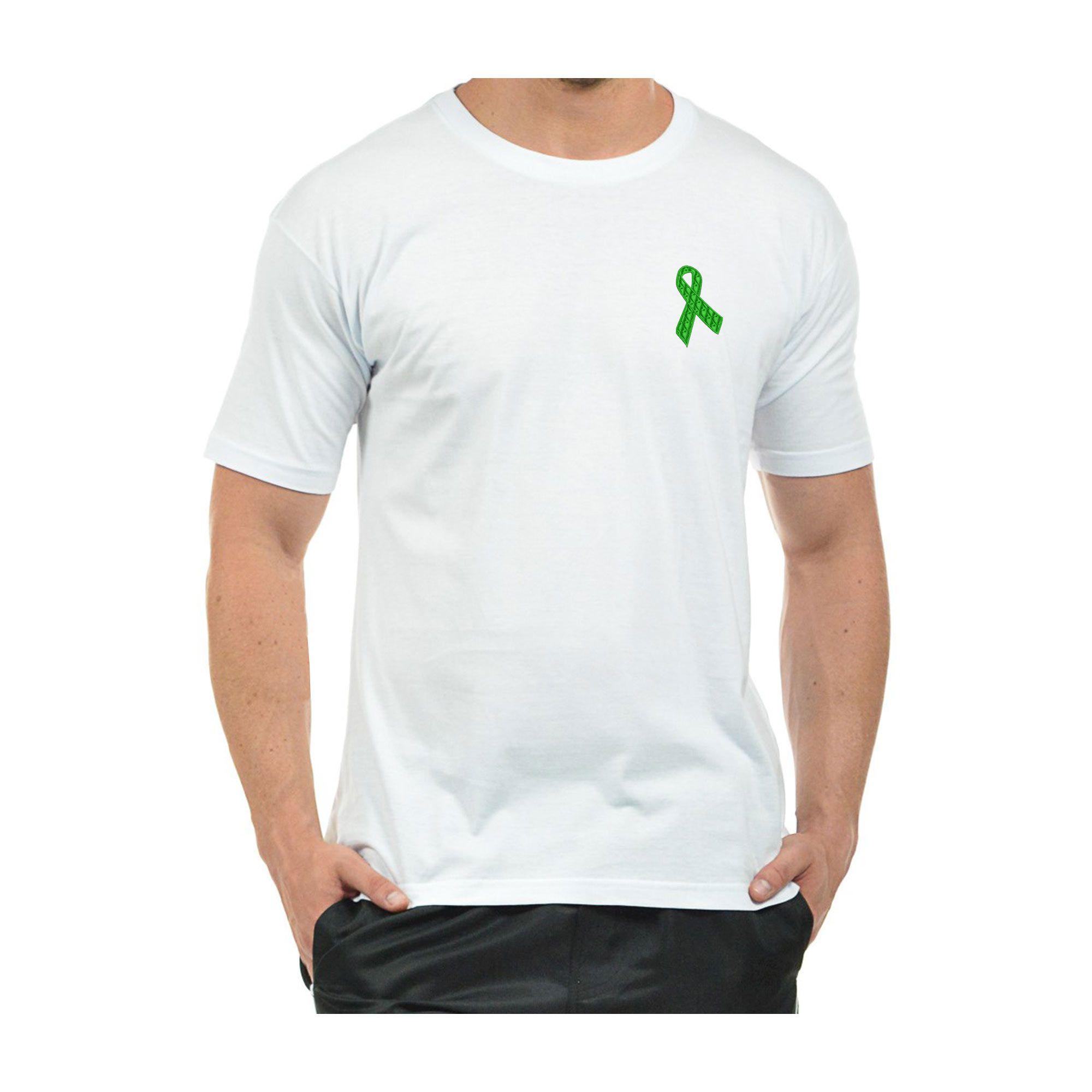 Camiseta Bordada Masculina Laço Setembro Verde Doação de Órgãos Heróis do Bem  - Talysmã Bordados