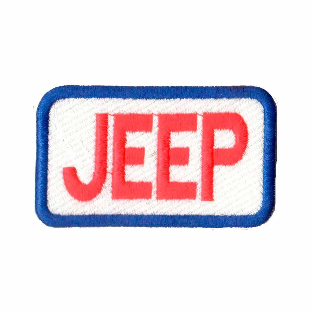 Patch Bordado - Logo Jeep Escrito Retangular Azul AD30053-61  - Talysmã Bordados