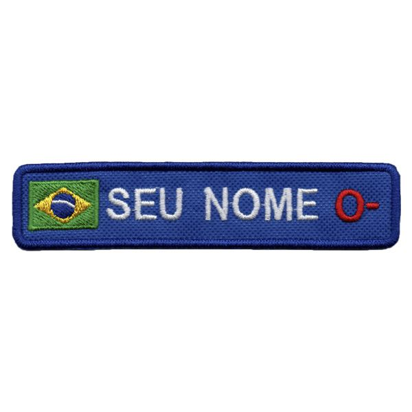 Tarja Personalizada Seu Nome Texto Bandeira E Tipo Sanguíneo
