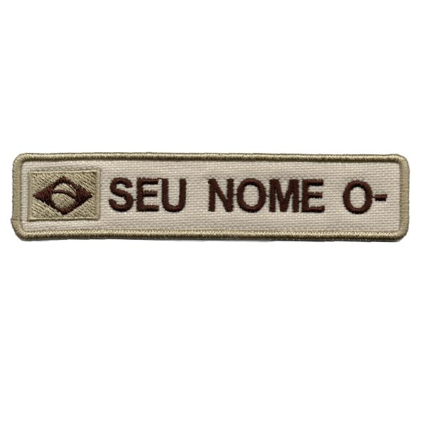 Tarja Personalizada Seu Nome Texto Bandeira E Tipo Sanguíneo  - Talysmã Bordados