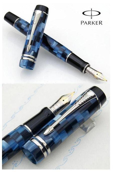 Caneta Parker Duofold Check Azul Tinteiro