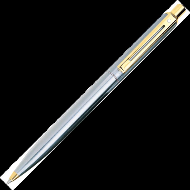 Caneta Sheaffer Sentinel Esferográfica Aço Escovado com Detalhes Folheado a Ouro.