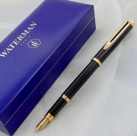 Caneta Waterman Gentleman Tinteiro Laca Negra GT