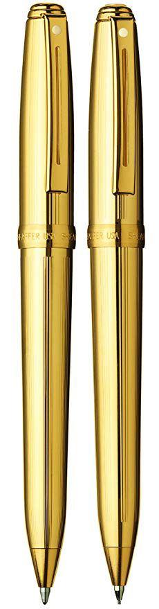 Conjunto Sheaffer Prelude Esferográfica e Lapiseira Dourada Folhada em Ouro
