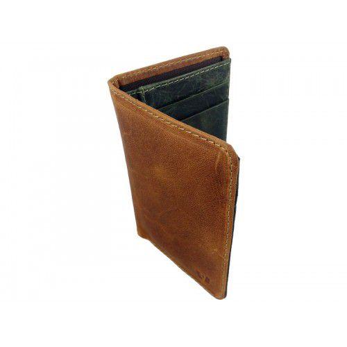 Porta-Cartão Vuarnet de Couro Bege e Verde