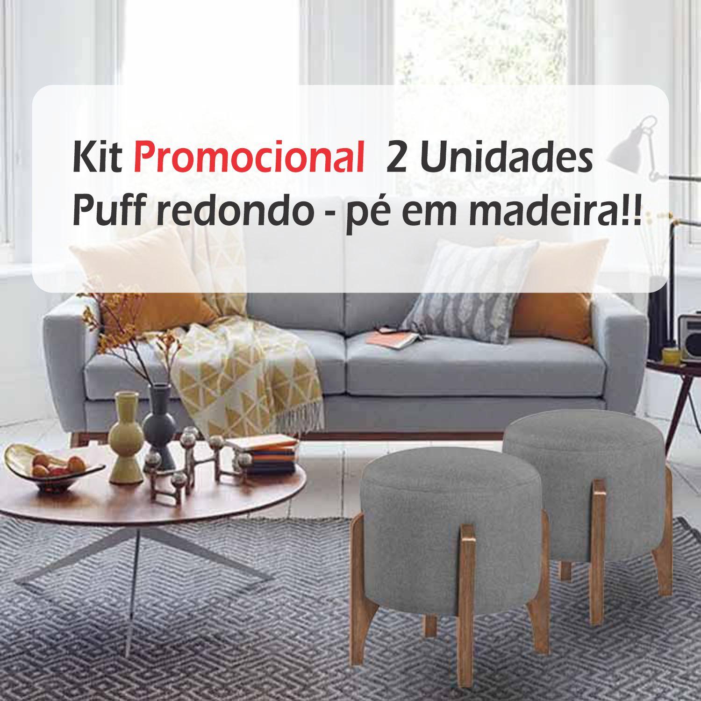 Kit 02 Puff Decorativos redondos - pés em madeira - Escandinavo