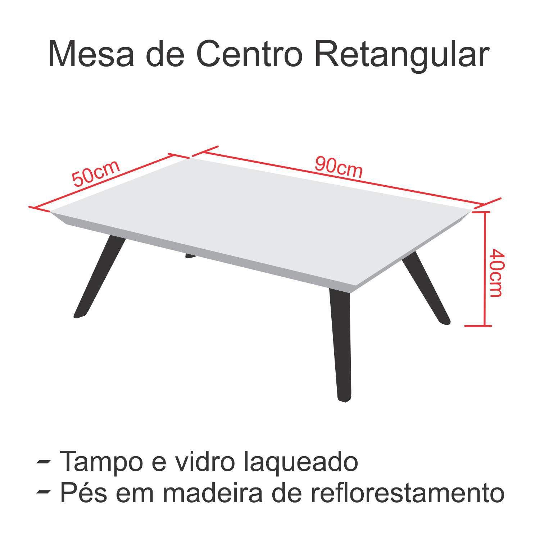 Mesa de Centro Retangular Laqueada com vidro