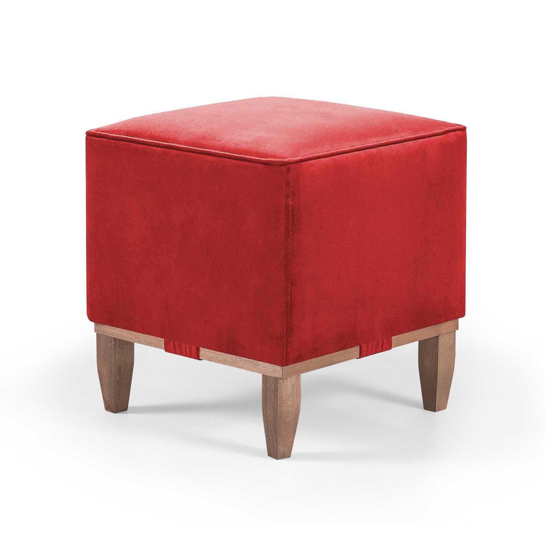 Puff Decorativo Quadrado Pés em madeira