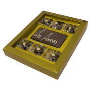 """Caixa Dourada com Barra de Chocolate """"Te amo"""""""