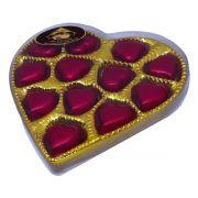 Caixa Dourada Pequena Coração Chocolate ao Leite Belga