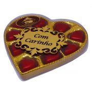 """Caixa Dourada Pequena Coração Dizeres: """"Com Carinho"""""""