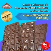 Combo - 2 barras ZERO AÇÚCAR 120g com Nuts + 1 barra ZERO AÇÚCAR 120g pura - FRETE GRÁTIS