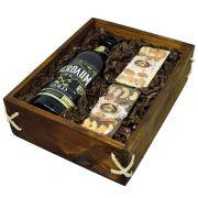 Estojo de Madeira com Cerveja Bierbaum Gold e Barras de Chocolate
