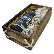 Estojo de Madeira com Cerveja Bierbaum Gold e Bombons