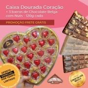 PROMOÇÃO - Caixa Dourada Coração G + 3 barras de Chocolate Belga com Nuts 120g cada - FRETE GRÁTIS