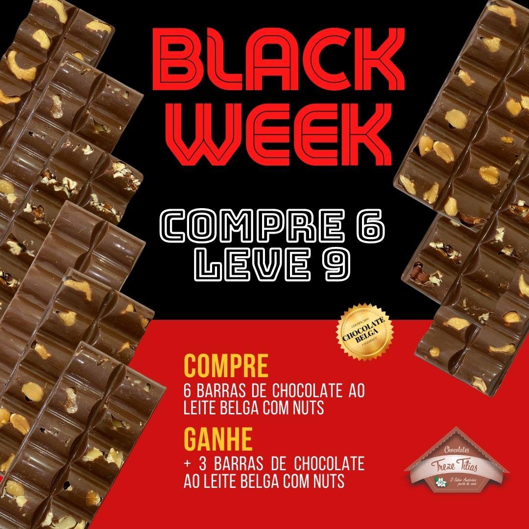 BLACK WEEK - COMPRE 6 - LEVE 9 - Barras de Chocolate ao Leite Belga com Nuts