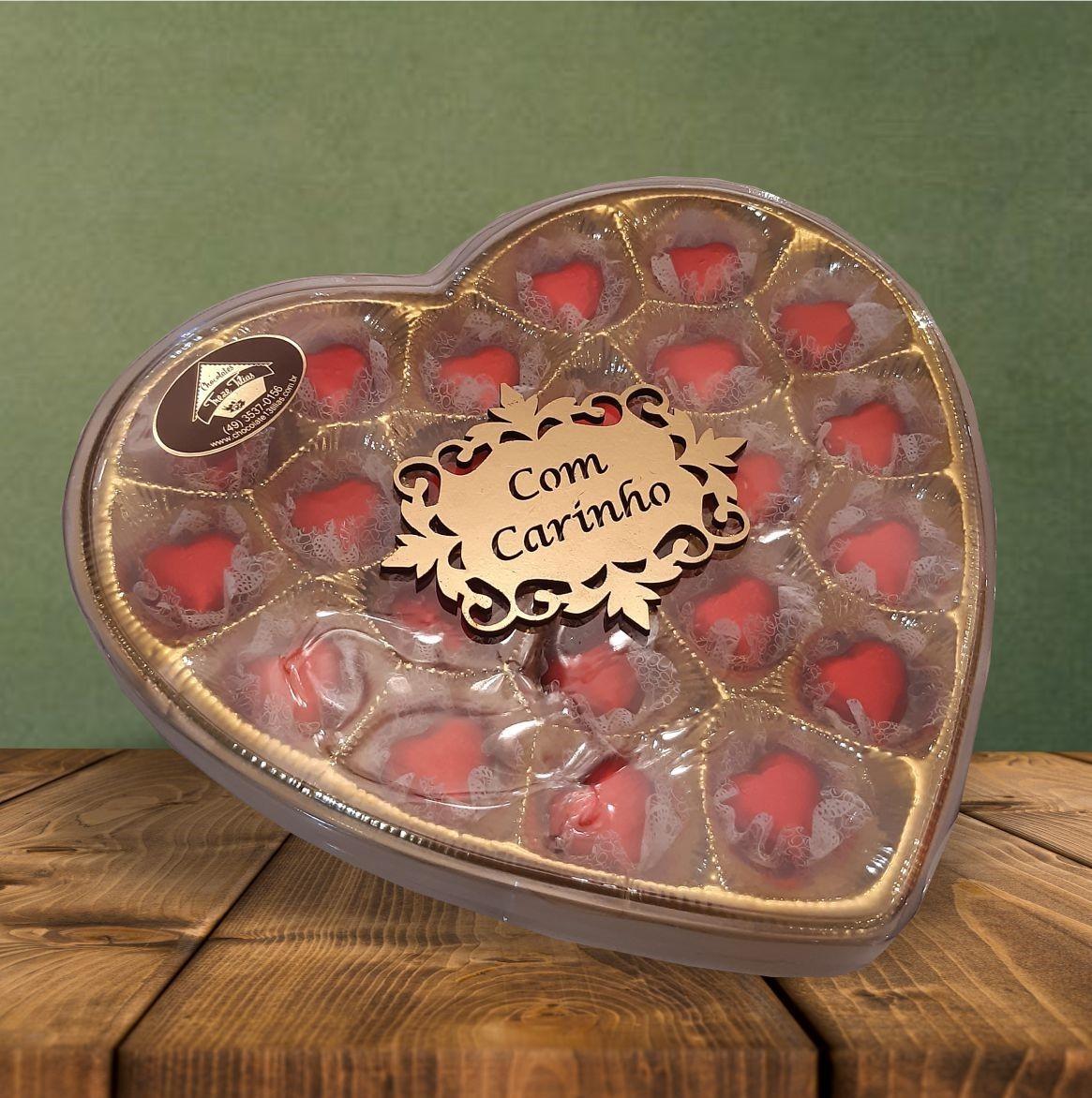 Caixa Dourada Coração G com Aplique 160 g