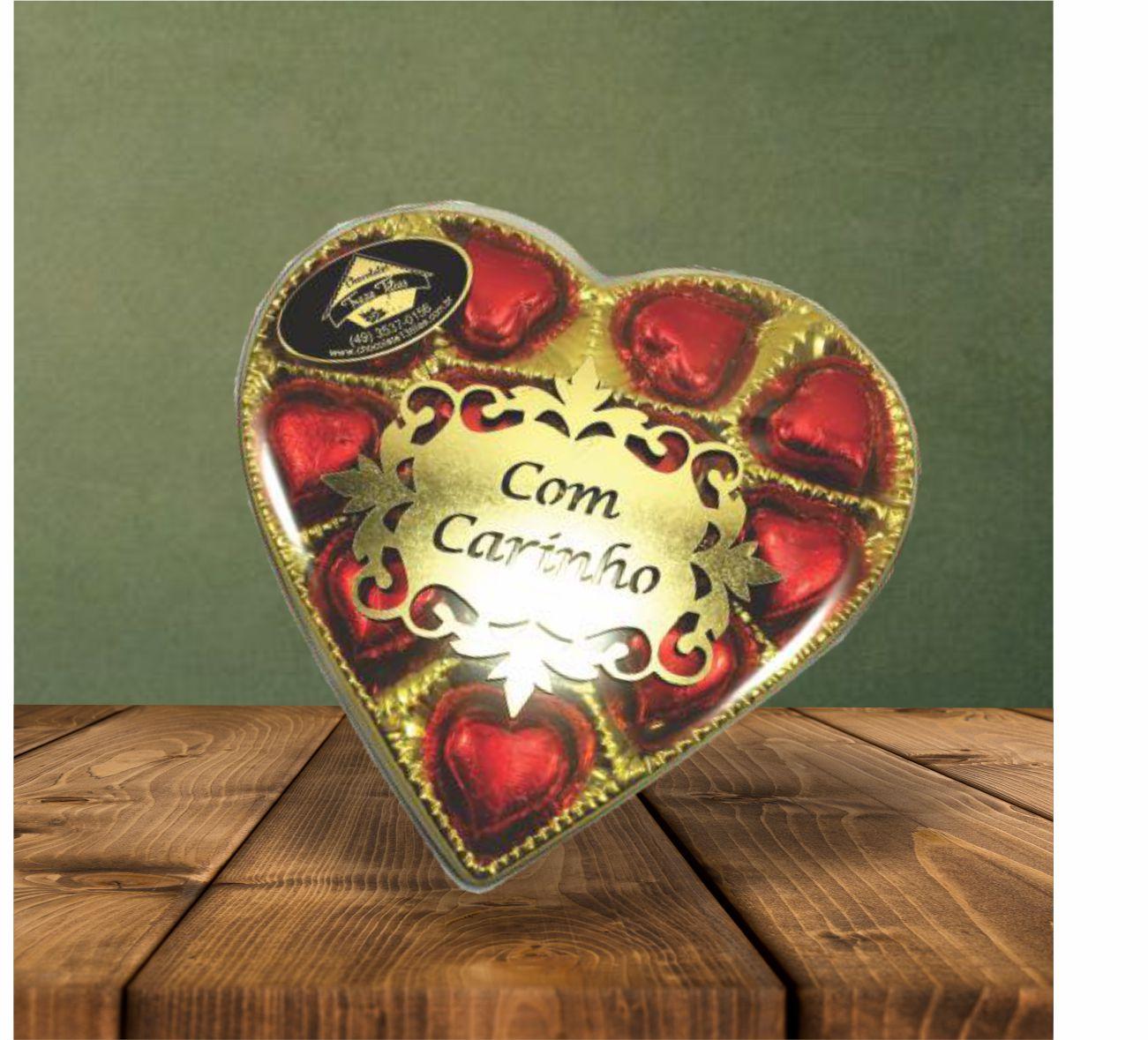 Caixa Dourada Coração P com Aplique -85 g