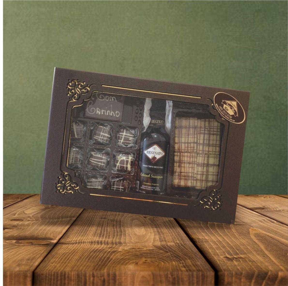 Caixa Laser Vinho Chocolate + Biscoito