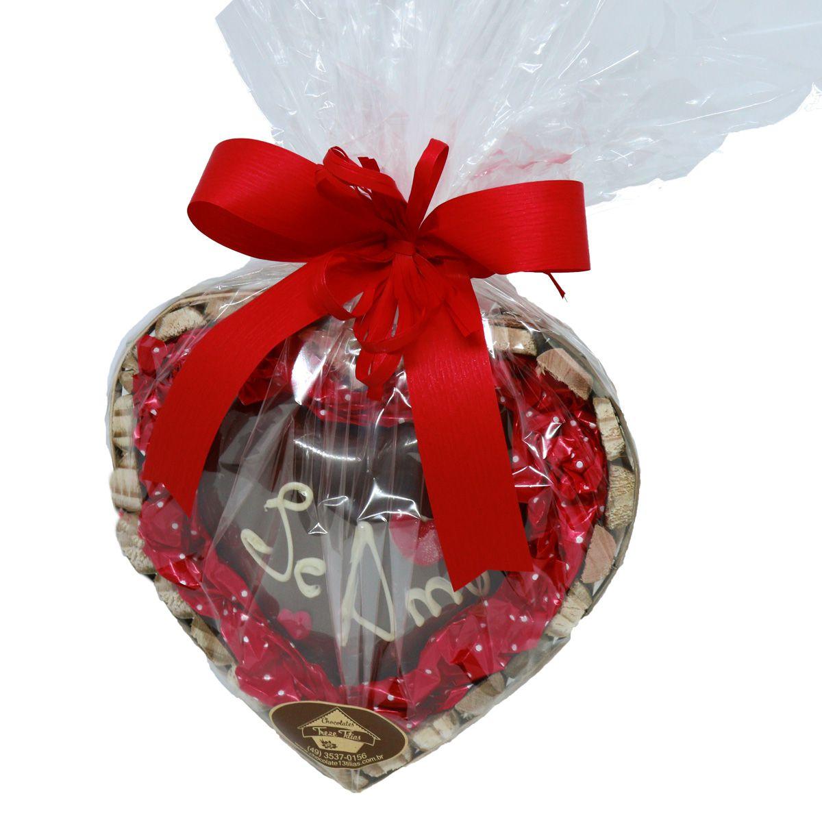 Estojo Coração Eu te Amo com Chocolate ao leite